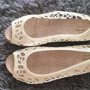 Crocs Isabella jelly flats white 9 W